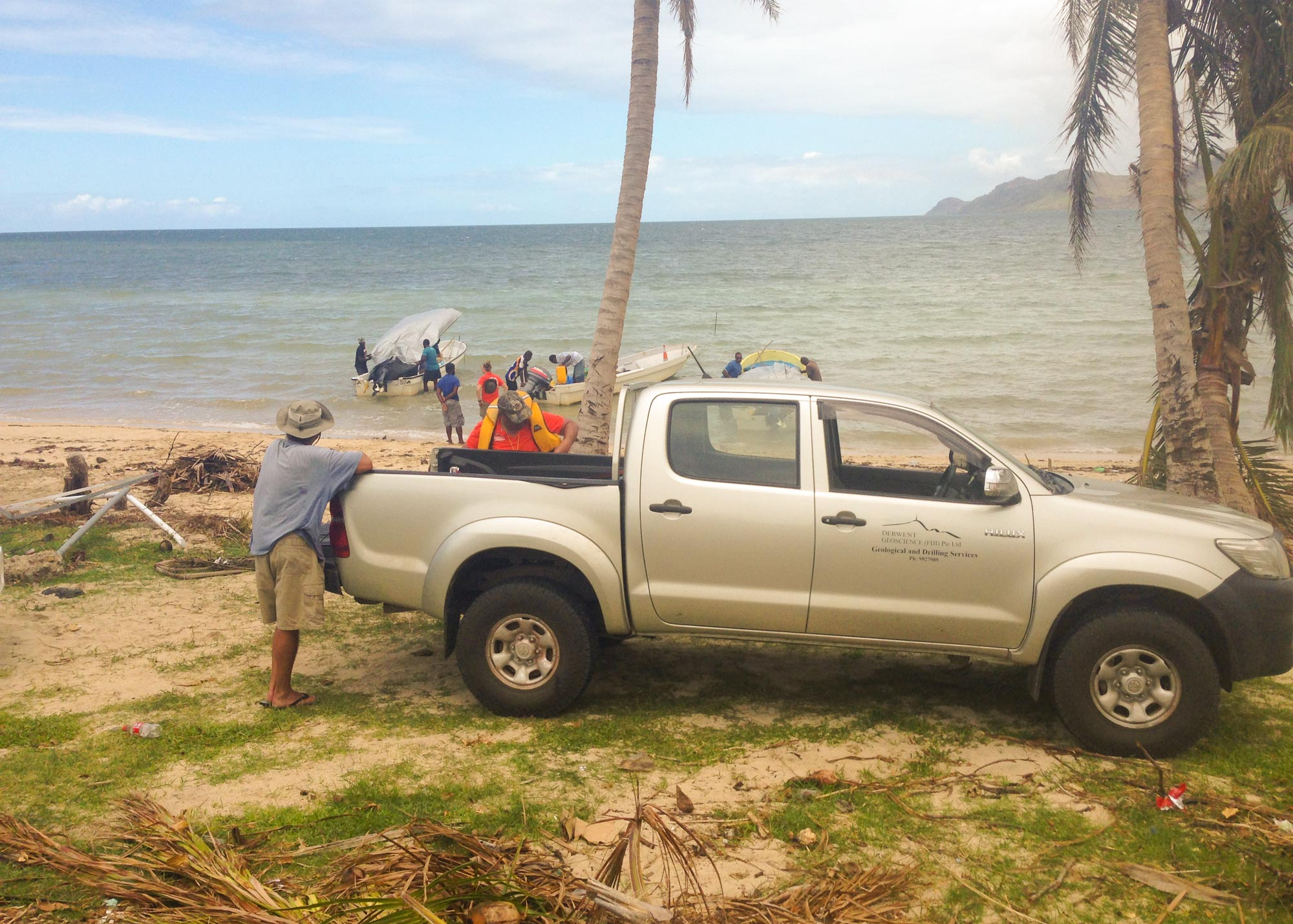 Derwent Geoscience Geology Fiji Mineral Exploration - at work on the beach