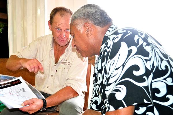 Fiji Geologist Stewart Capp briefs PM Bainimarama